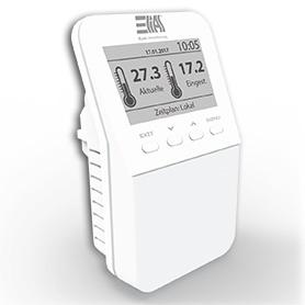 Steckdosen-Schaltaktor mit Temperatursensor zentral steuerbar